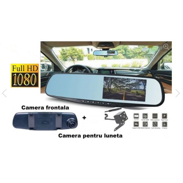 Oglinda auto cu camera fata/spate, Full HD