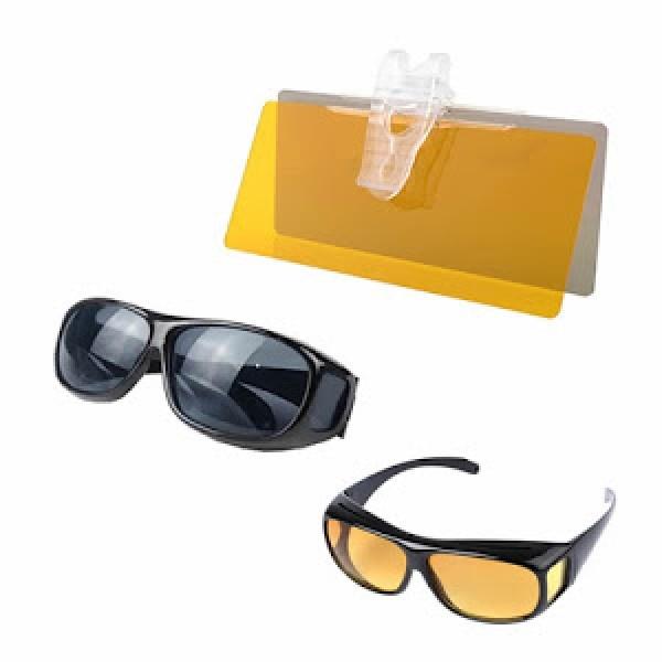 Set Parasolar auto HD Vision cu functie pentru zi/noapte + Set 2 perechi ochelari condus zi/noapte HD Vision