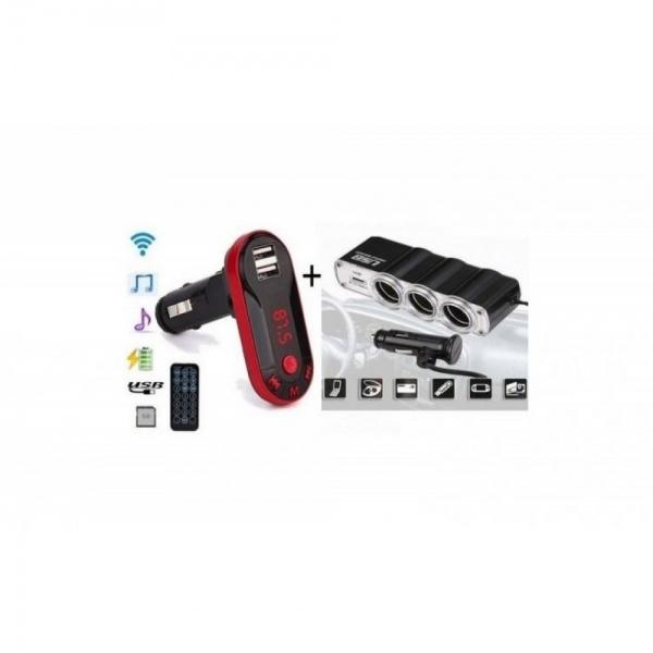 Pachet AUTO: Modulator FM mp3 player cu incarcator incorporat + priza bricheta tripla si USB incorporat