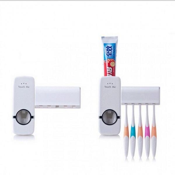 Set 2 dozatoare de pasta de dinti cu suport pentru 5 periute