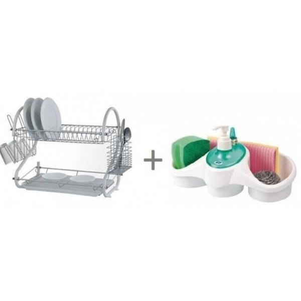 Set bucatarie: Suport vesela cu tavita de uscare + Dispenser detergent de vase