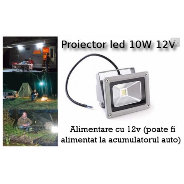 Proiector Led 10 W, cu alimentare la 12V - poate fi alimentat la acumulatorul auto