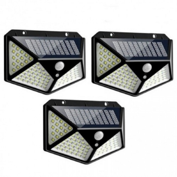 Set 3 lampi 100 LED, 3 moduri de functionare, incarcare solara si senzor de miscare