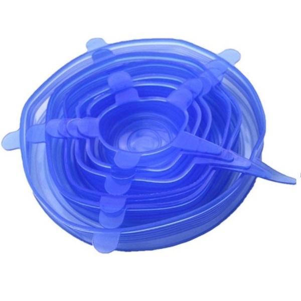 Set 6 apace elastice silicon pentru acoperirea oalelor și castroanelor