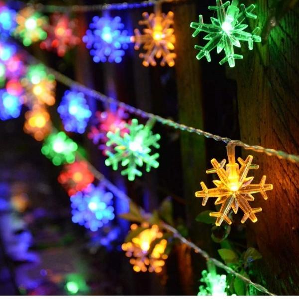 Set 2 Instalatii LED fulgi de zapada colorati 6m 40 LED- 12m total