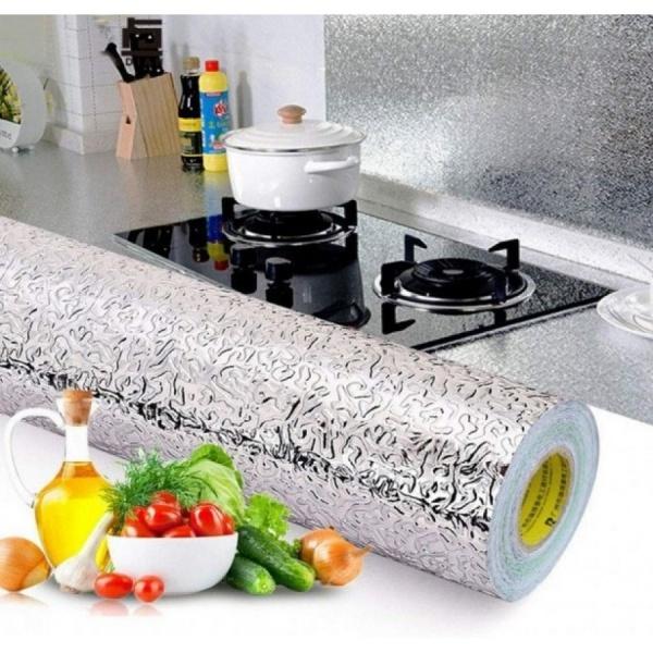 Folie de aluminiu autoadeziva bucatarie 60 x 300 cm AURIU/ ARGINTIU