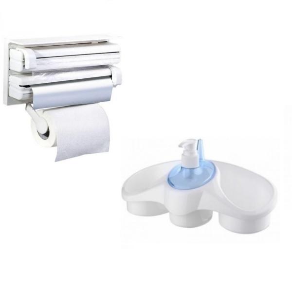 Pachet accesorii bucatarie: Dispenser triplu + dispenser detergent vase