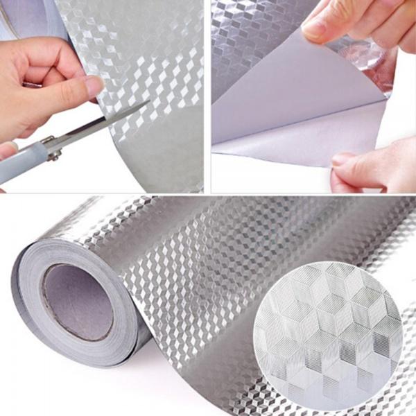 Folie protectoare autoadeziva, din aluminiu 61 x 300 cm  AURIU/ ARGINTIU