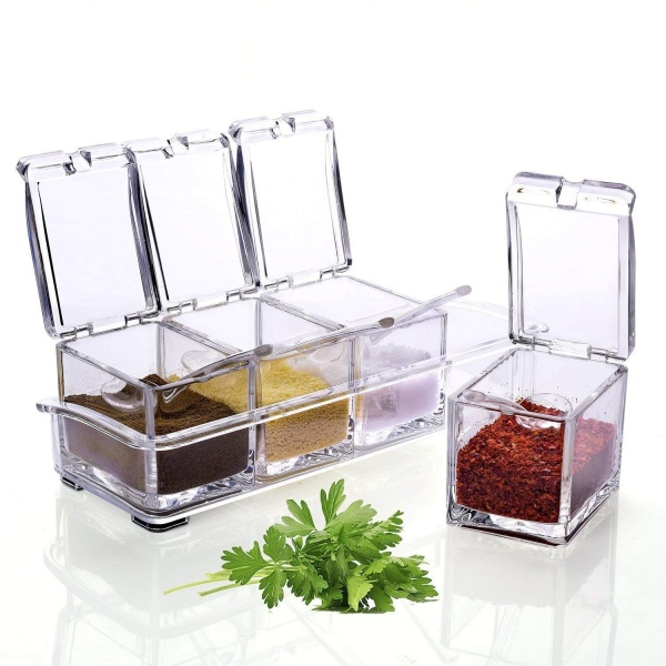 Set 4 recipiente pentru condimente cu suport din plastic