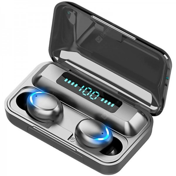 Casti wireless bluetooth 5.1, powerbank cu afisaj, touch control