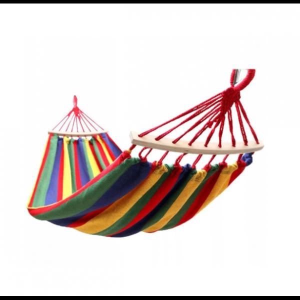 Hamac colorat din bumbac, cu bare din lemn, 200x80 cm