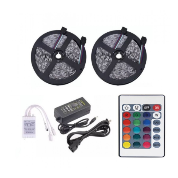 Kit Banda led 10 Metri RGB, 600LED, 16 culori + jocuri , transformator + telecomanda 24 taste