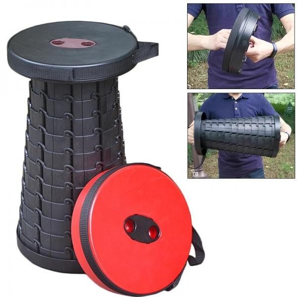 Scaun rotund portabil, retractabil, extensibil cu pliere telescopica pentru camping