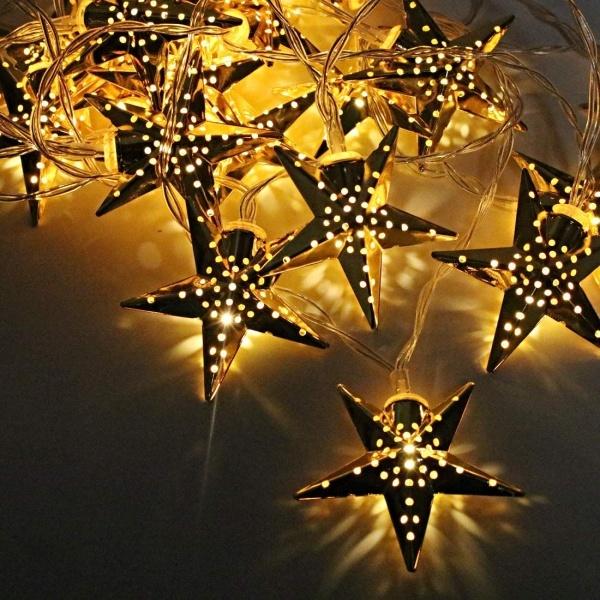 Instalatie stelute aurii Craciun, 20 LED-uri cu lumina alba calda, 3 m, interior