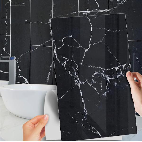 Set 5 x Autocolant adeziv decorativ cu design marmura neagra, 30x60 cm