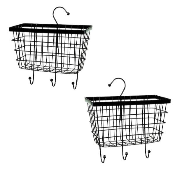 Set 2 x Raft metalic organizator cu suport, Negru, 20 x 8 x 14 cm