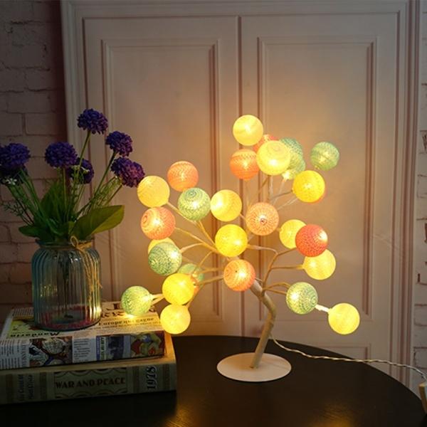 Copacel decorativ tip veioza, Cotton Ball 24 LED