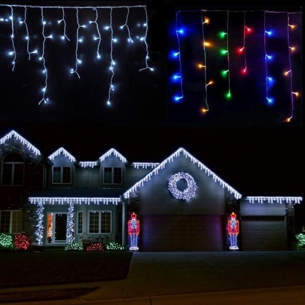 Set 3 x instalatie led Craciun 12m,900 LED, 36 Metri cu franjuri diverse culori