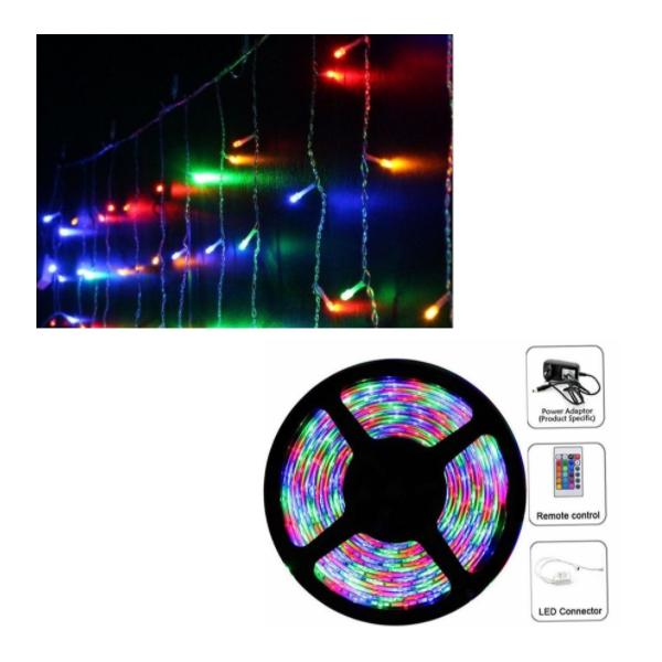 Instalatie Craciun 12 metri, franjuri diverse culori + Banda LED multicolora 5m cu telecomanda