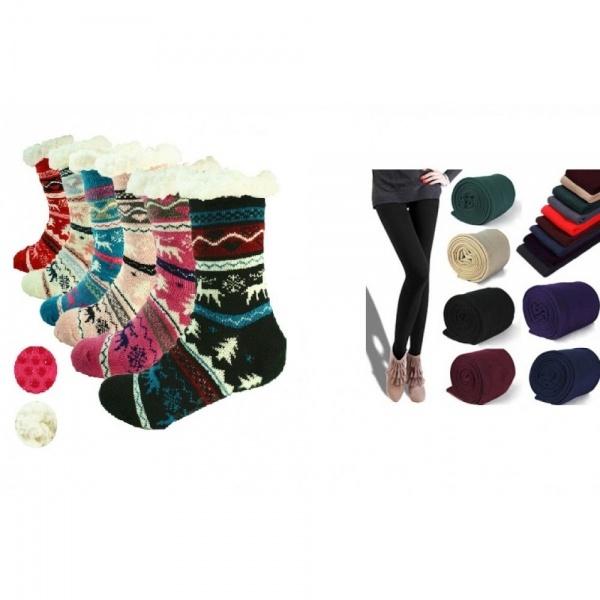 Colanti vatuiti, diverse culori + Ciorapi imblaniti model Winter Season