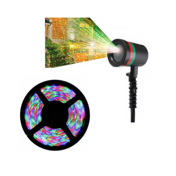 Pachet Proiector cu puncte, interior/exterior + Banda LED 5m, cu telecomanda si joc de lumini multicolore