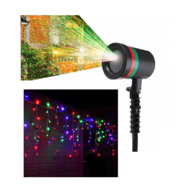 Pachet Proiector cu puncte, interior/exterior + Instalatie 12m, franjuri cu LED - diverse culori
