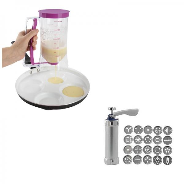 Dispenser de aluat pentru prajituri + Kit biscuiti de casa/fursecuri cu 14 forme diferite